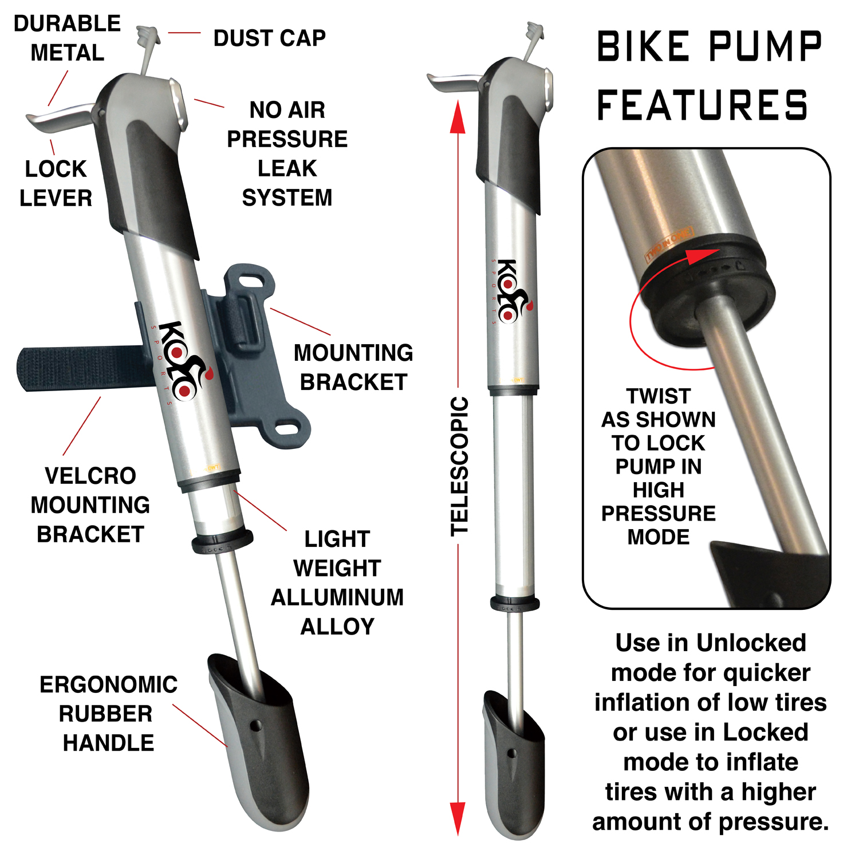 KOLO Sports 120 psi Aluminum Telescopic Mini Bike Pump with Frame ...